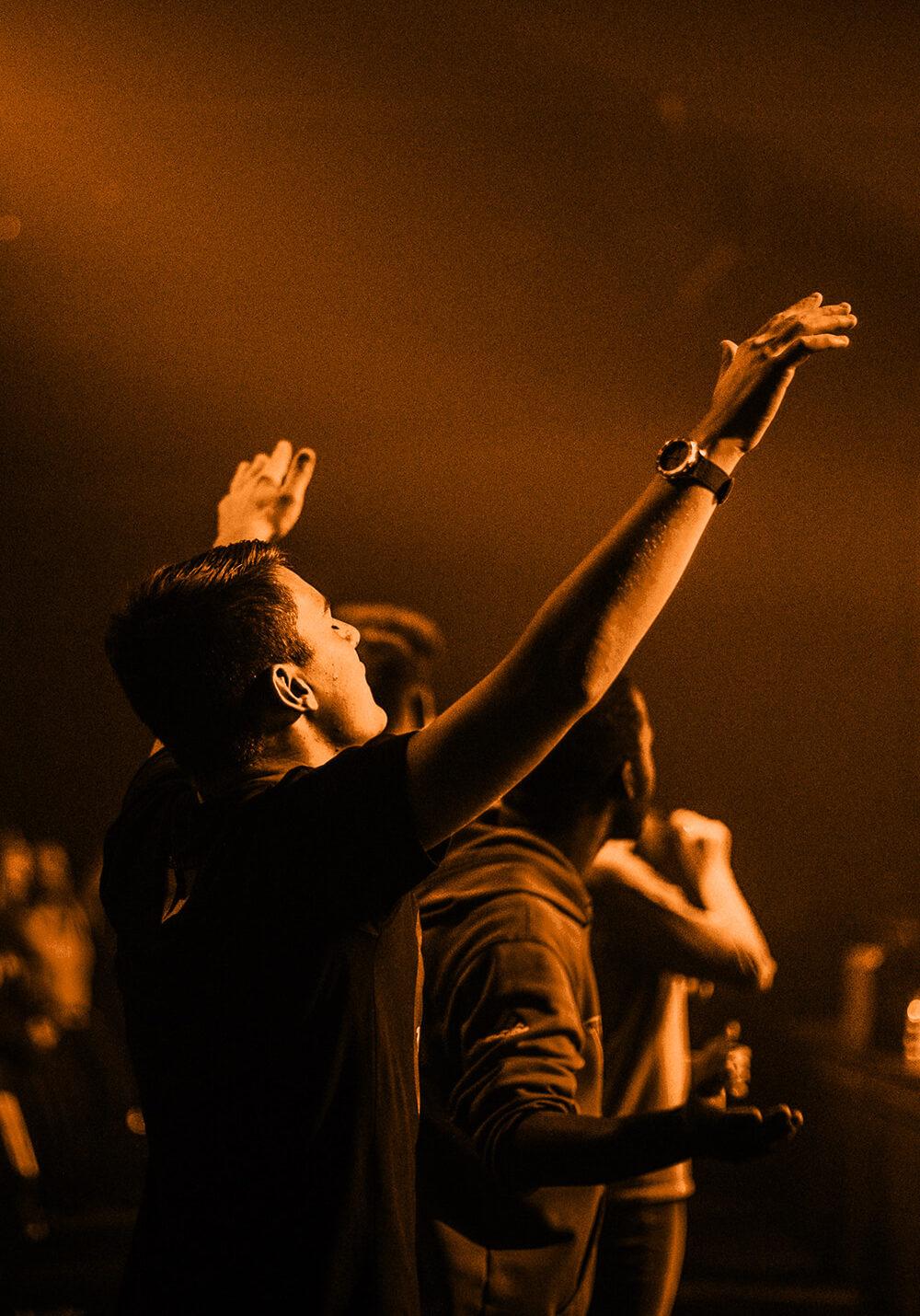 Man encountering Jesus in worship